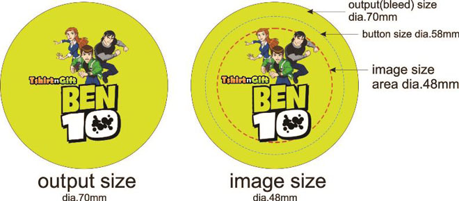Button badges design guideline - 58mm diameter