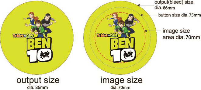 Button badges design guideline - 75mm diameter